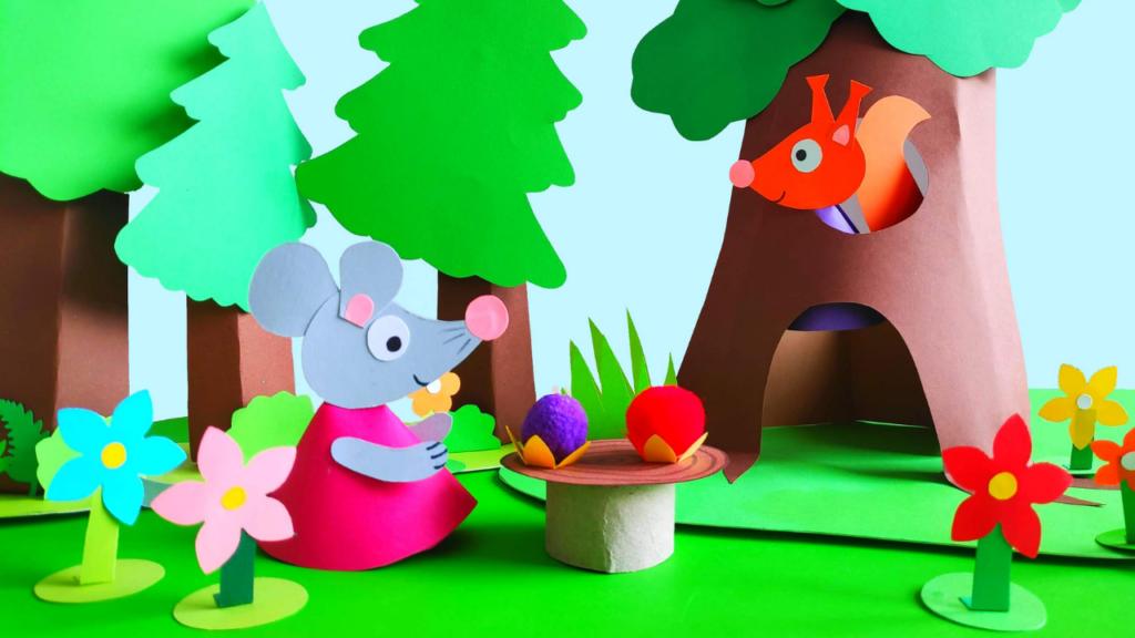 Papierowy teatrzyk dla dzieci ze zwierzatkami
